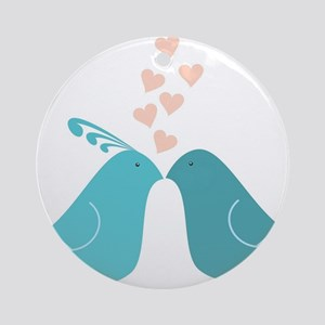 Turquoise Kissing Turtle Doves Round Ornament
