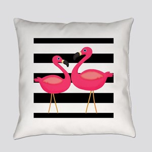 Pink Flamingoes Black Stripes Everyday Pillow