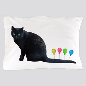 Black Cat Balloons Pillow Case