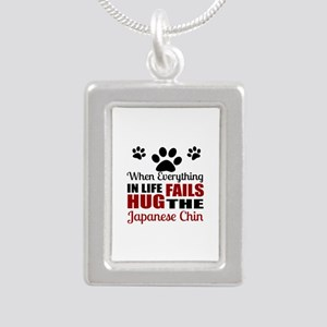 Hug The Japanese chin Silver Portrait Necklace