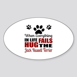 Hug The Jack Russell Terrier Sticker (Oval)