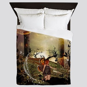 Cute little fairy with dragon Queen Duvet