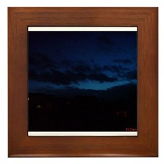 Blue Sky at Night Framed Tile