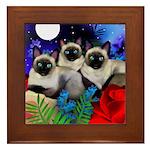 Siamese Cats Full Moon Framed Tile