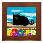 Black Cat Flowers Framed Tile
