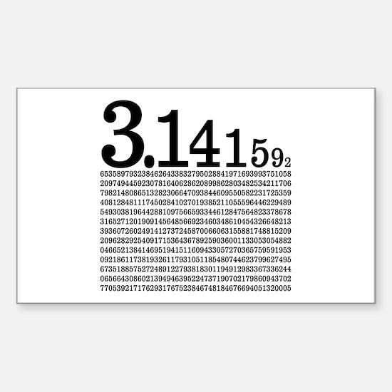 3.1415926 Pi Sticker (Rectangle)