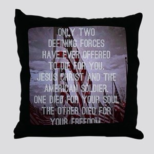 Jesus and the American Soldier Throw Pillow
