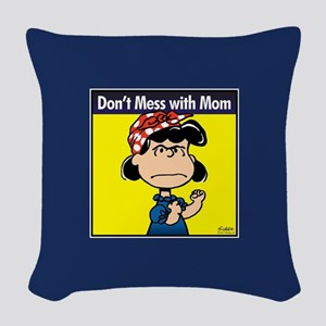 Peanuts Don't Mess With Mom Woven Throw Pillow