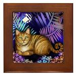 Orange Tabby Cat Full Moon Framed Tile