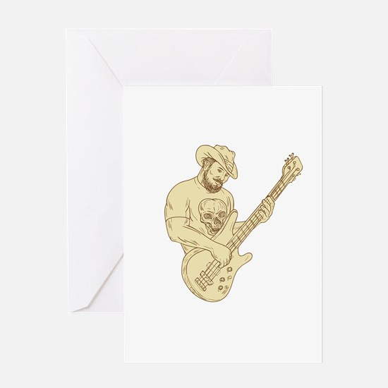 Cowboy Bass Guitar Isolated Drawing Greeting Cards