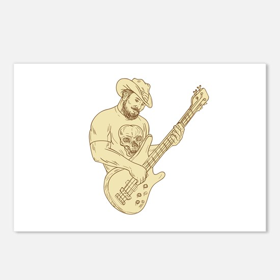 Cowboy Bass Guitar Isolated Drawing Postcards (Pac