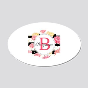 Baby Name Monogram 20x12 Oval Wall Decal