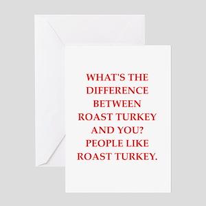 roast turkey Greeting Cards