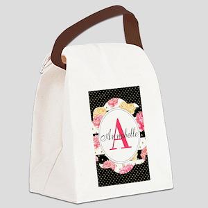 Custom Text Floral Canvas Lunch Bag