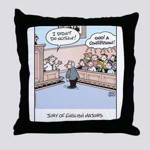 Jury of English Major Cartoon Throw Pillow