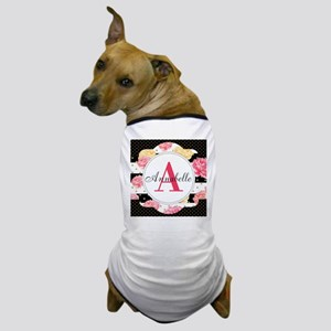 Custom Text Floral Dog T-Shirt