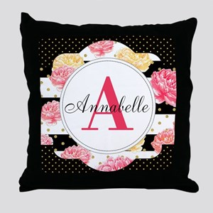 Custom Text Floral Throw Pillow