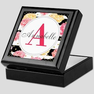 Custom Text Floral Keepsake Box