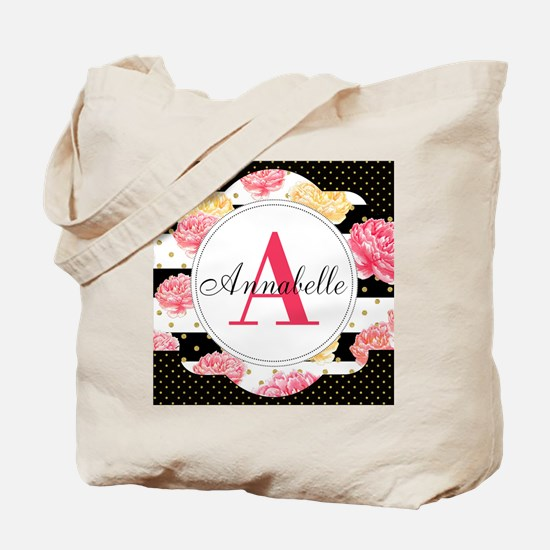 Custom Text Floral Tote Bag