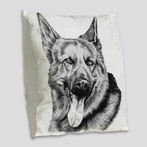 German Shepherd Pencil Drawing Burlap Throw Pillow