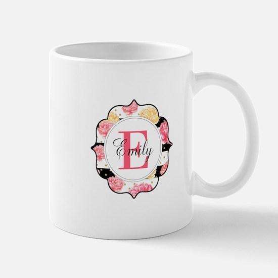 Pink Watercolor Floral Monogram Mug