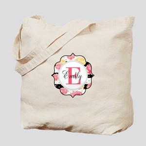 Pink Watercolor Floral Monogram Tote Bag