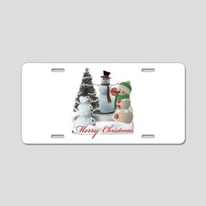 SnowPals Merry Christmas Aluminum License Plate