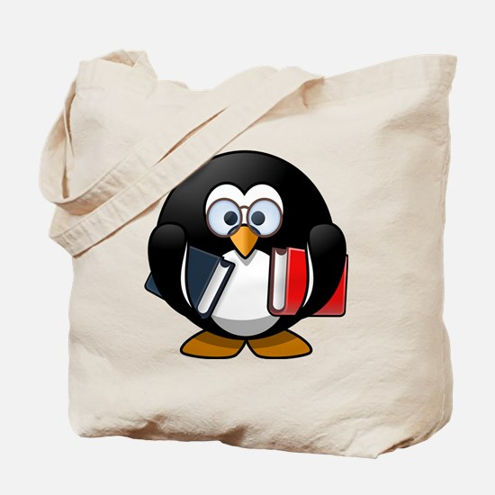 Cute Penguin book Tote Bag