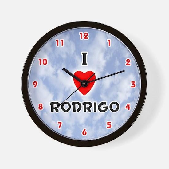 I Love Rodrigo (Red/Blk) Valentine Wall Clock