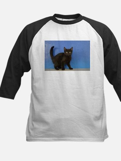 Nadia - Black Solid Munchkin Kitten Baseball Jerse