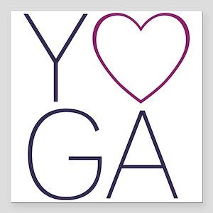 "yoga heart Square Car Magnet 3"" x 3"""