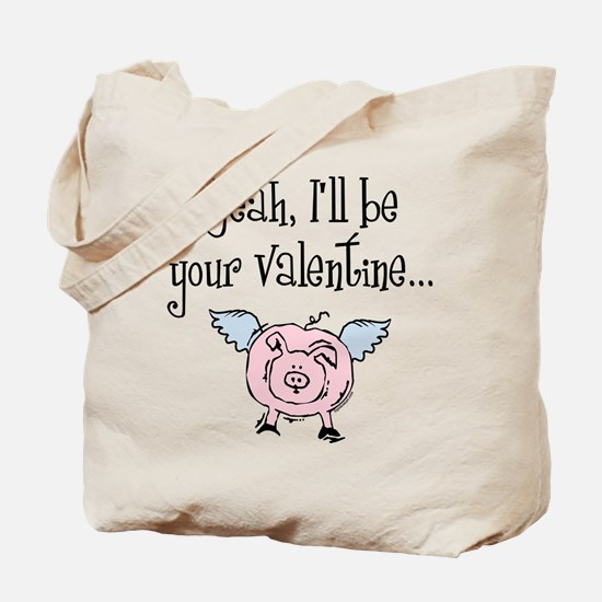 Pigs Fly Valentine Tote Bag
