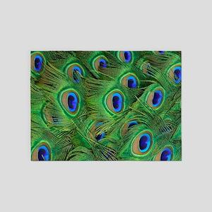 Beautiful Peacok feathers 5'x7'Area Rug
