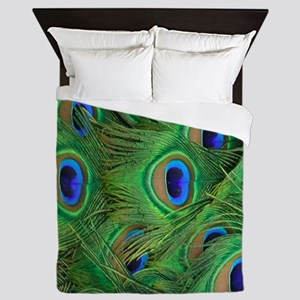 Beautiful Peacok feathers Queen Duvet