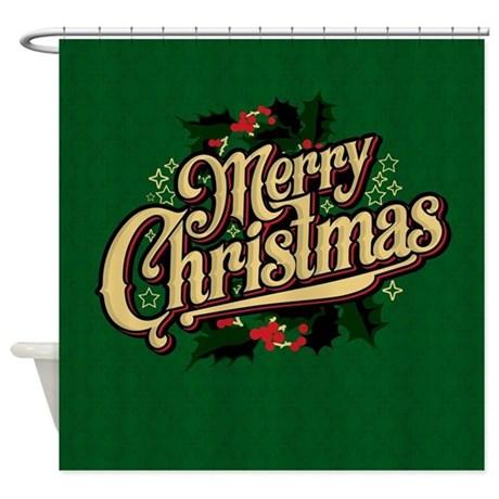 >Merry Christmas Green Shower Curtain