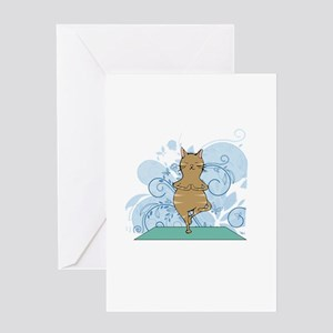 Tree Pose Orange Yoga Cat Greeting Cards