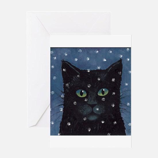 Black Cat Snow Falling Cards (Pk of 10) Greeting C