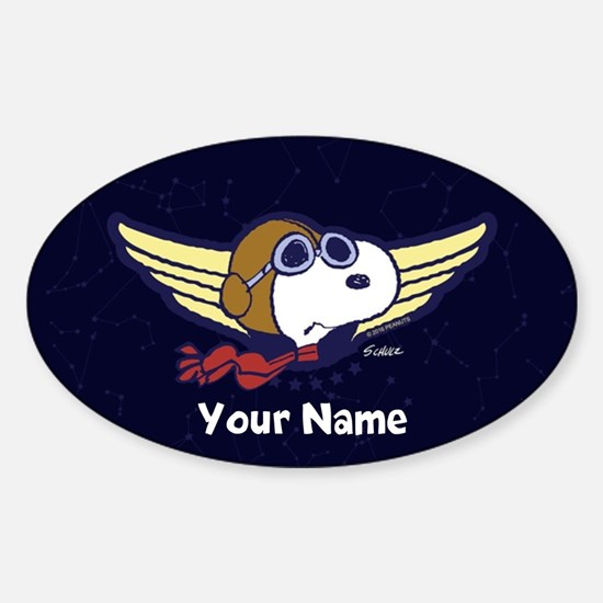 Snoopy Ace Personalized Sticker (Oval)