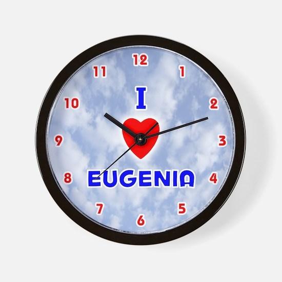 I Love Eugenia (Red/Bl) Valentine Wall Clock