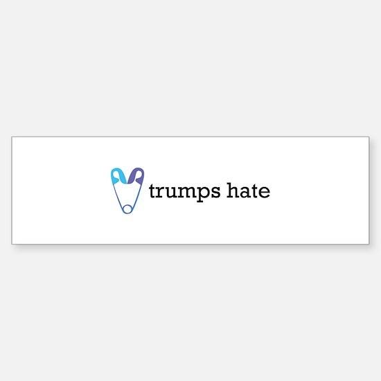 Love Trumps Hate with Safety Pin He Bumper Bumper Bumper Sticker