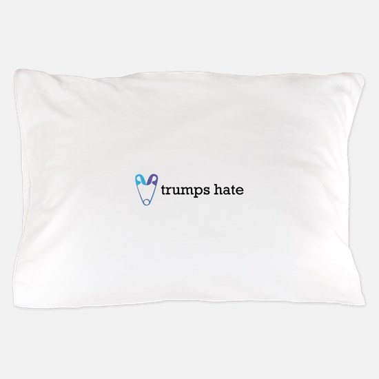 Love Trumps Hate with Safety Pin Heart Pillow Case