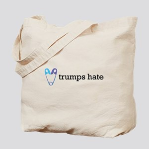 Love Trumps Hate with Safety Pin Heart Tote Bag