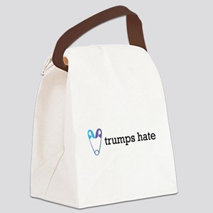 Love Trumps Hate with Safety Pin Canvas Lunch Bag