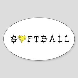 Softball with Heart Oval Sticker