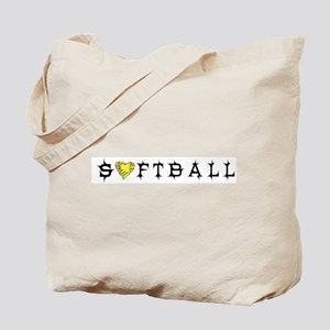 Softball with Heart Tote Bag