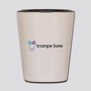 Love Trumps Hate with Safety Pin Heart Shot Glass