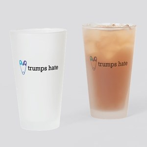 Love Trumps Hate with Safety Pin He Drinking Glass