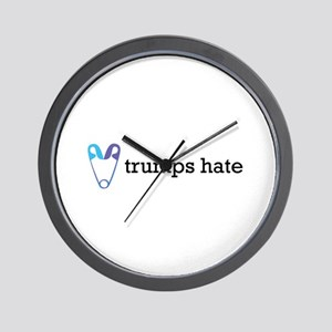 Love Trumps Hate with Safety Pin Heart Wall Clock