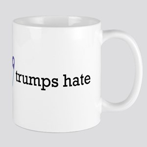 Love Trumps Hate with Safety Pin Heart Mugs