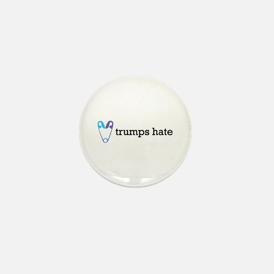 Love Trumps Hate with Safety Pin Heart Mini Button